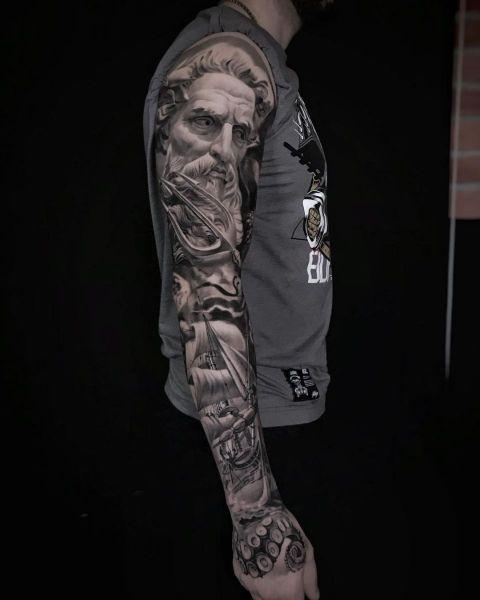 Artjom-2brothers-ink-dinkelsbuehl-tattoostudio-schiff-neptun-krake-armsleeve